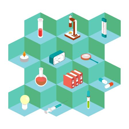 Isometric Vector medical icons. For the design of medical applications. 矢量图像