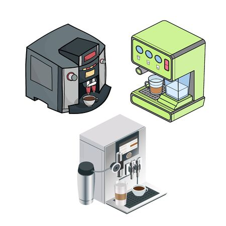 Different variations in the different styles of coffee machines. Line art, realistic, isometric vector illustration