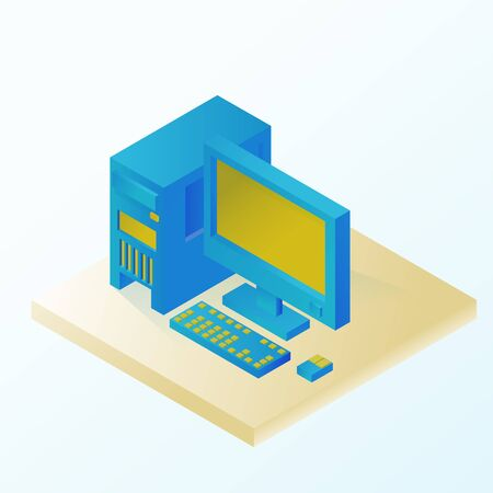 Personal desktop. Icons. Information Technology. Isometric vector illustration