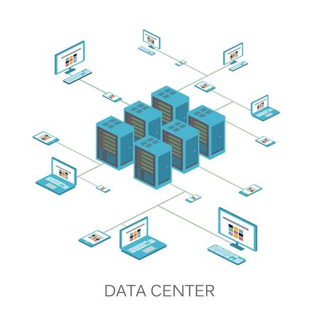 Isometric vector illustration. Data center icon for design and infographics Web Site. 矢量图像