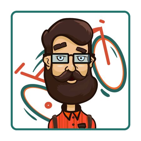 Hipster glasses on the background of a bicycle. Cartoon vector illustration 免版税图像