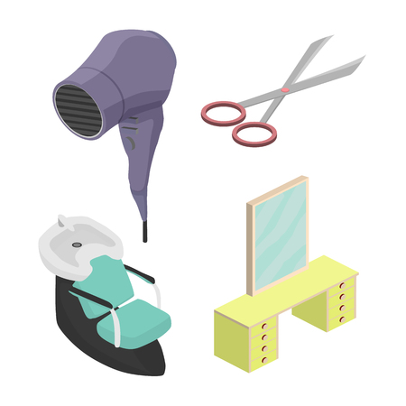 Objects in a beauty salon. Isometric vector illustration