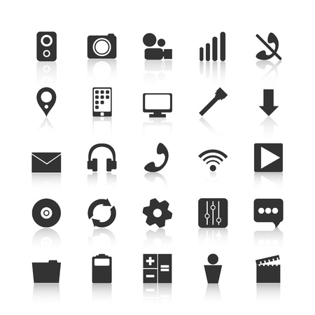 Black icons for design of mobile applications. Audio and video i 矢量图像
