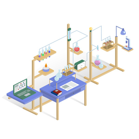 Laboratory research chemical isometric style design vector illustration science. Illustration