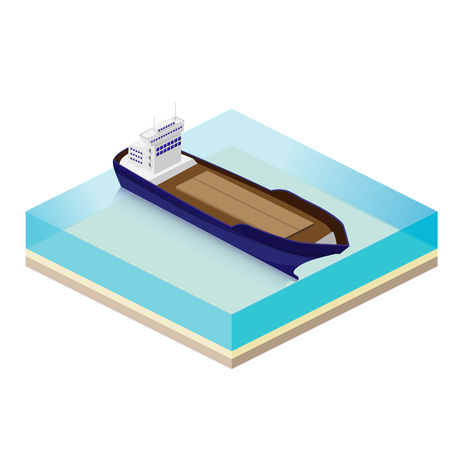The cargo ship to transport goods by sea. Isometric vector illus