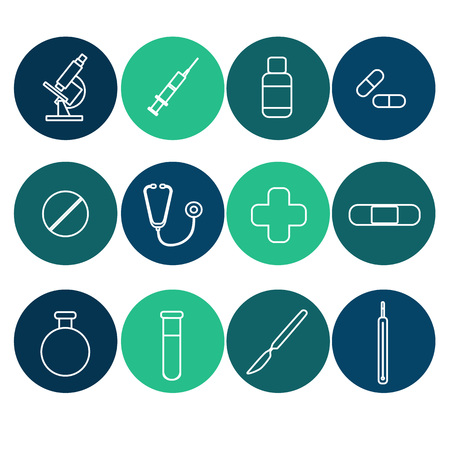Icons for medical websites, applications. Flat line art vector 矢量图像
