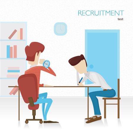 Employer arranges a survey in hiring. Tests. Tasks. Color flat v