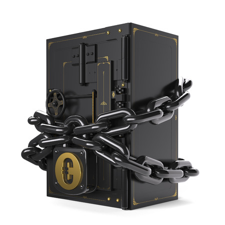 usda: on chains hanging lock with euro Stock Photo