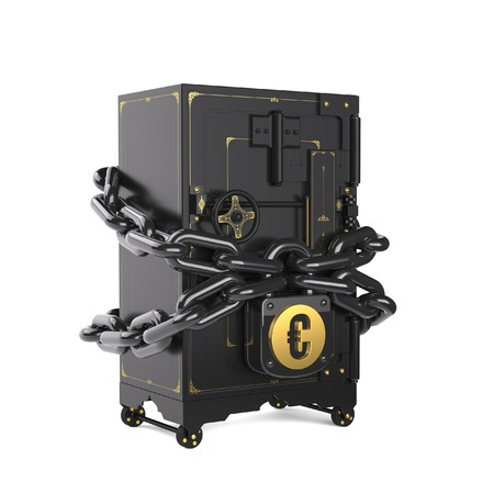 trundle: on chains hanging lock with euro Stock Photo