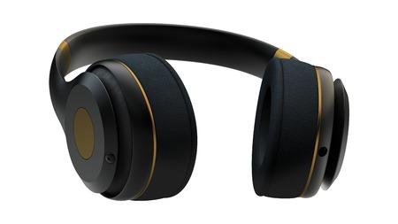 clang: Headphones exclusive golden design. 12 line mask included. Stock Photo