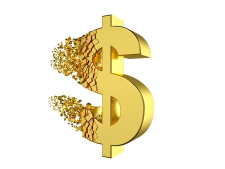 deflating dollar sign Stock Photo