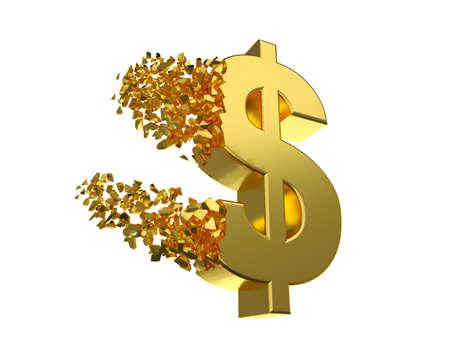 derivation: deflating dollar sign Stock Photo