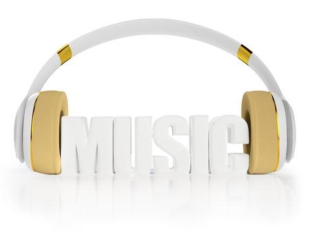 retained: blanco con estilo con los auriculares de oro, y la palabra m�sica. para cada color y el objeto retuvo su m�scara. editar en la diversi�n