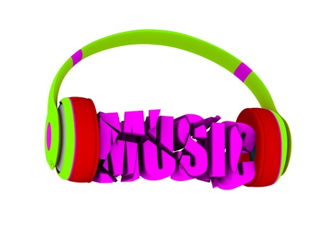 retained: stylish headphones in bright colors, and the word music. for each color and the object retained its mask. edit in the fun Stock Photo