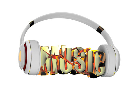 retained: stylish white with gold headphones, and the word music. for each color and the object retained its mask. edit in the fun