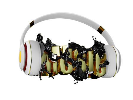 retained: l�quido negro de los auriculares de la m�sica rompe inscripci�n. blanco con estilo con los auriculares de oro, y la palabra m�sica. para cada color y el objeto retuvo su m�scara. editar en la diversi�n Foto de archivo