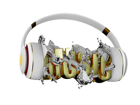retained: Chrome liquid from the headphones breaks inscription music. stylish white with gold headphones, and the word music. for each color and the object retained its mask. edit in the fun Stock Photo