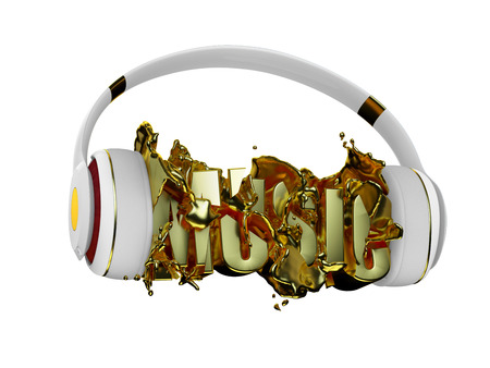 retained: gold liquid from the headphones breaks inscription music. stylish white with gold headphones, and the word music. for each color and the object retained its mask. edit in the fun