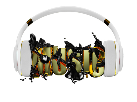 retained: black liquid from the headphones breaks inscription music. stylish white with gold headphones, and the word music. for each color and the object retained its mask. edit in the fun Stock Photo