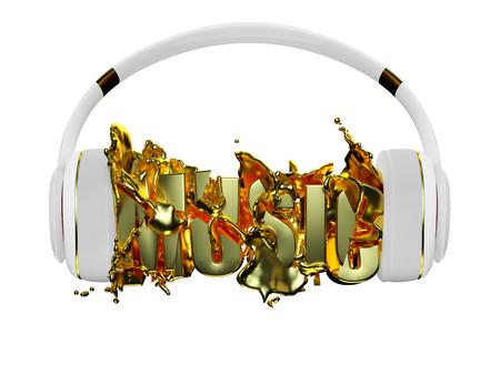 retained: oro líquido de los auriculares de la música rompe inscripción. blanco con estilo con los auriculares de oro, y la palabra música. para cada color y el objeto retuvo su máscara. editar en la diversión
