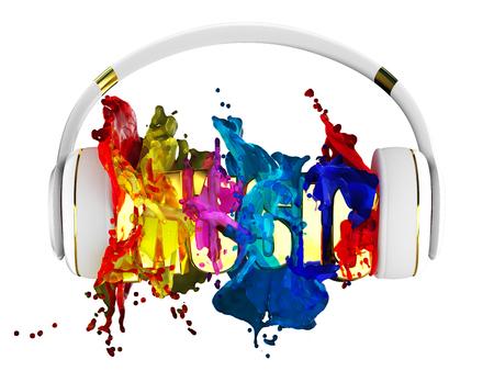 retained: explosión de color de la pintura de los auriculares. música de la palabra maldita. cada color se le asigna camino. el objeto retuvo su máscara. editar en la diversión