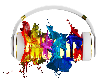 retained: explosion of color paint from the headphones. blasted word music. each color is assigned path. the object retained its mask. edit in the fun