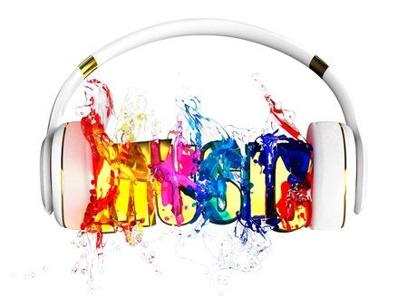 retained: explosión de líquido color de transparencia de los auriculares. música de la palabra maldita. cada color se le asigna camino. el objeto retuvo su máscara. editar en la diversión