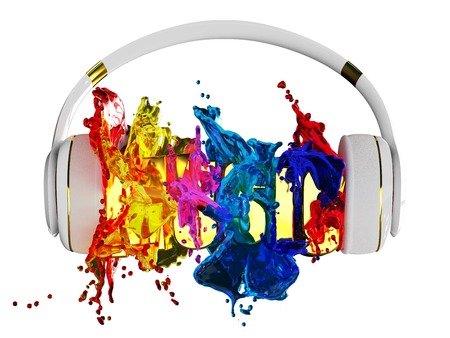 assigned: explosion of glossy color paint from the headphones. blasted word music. each color is assigned path. the object retained its mask. edit in the fun