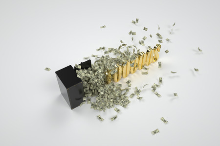 to depart: depart from the safe money when faced with numbers and letters Stock Photo