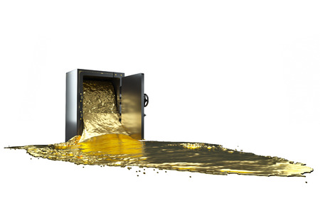 liquid gold: safe and liquid gold. path included. Stock Photo