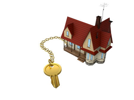 gold key: house with gold key Stock Photo