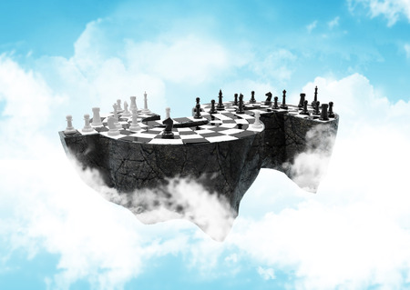 stairway: high, sky-high financial strategic war. path included Stock Photo