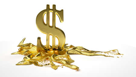 melts: dollar symbol melts into liquid gold. path included Stock Photo