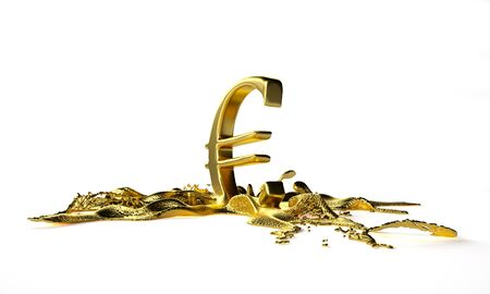 melts: euro symbol melts into liquid gold. path included Stock Photo