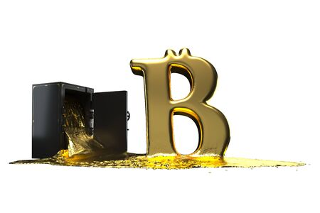 derives: Many of molten gold. Bitcoin symbol derives from the safe. Path included. Perfect for advertising models. Save in days of sales.