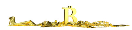 liquid gold: Bitcoin symbol melts into liquid gold. Perfect for advertising models. Save in days of sales Stock Photo