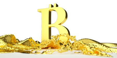 melts: Bitcoin symbol melts into liquid gold. Perfect for advertising models. Save in days of sales Stock Photo