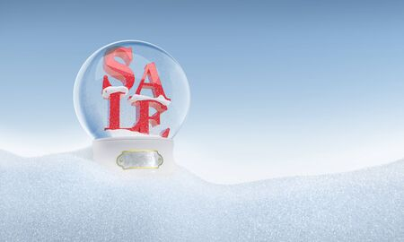 christmas bonus: Christmas snow globe with word Sale inside. Path included. Perfect for advertising models. Save in days of sales. Stock Photo