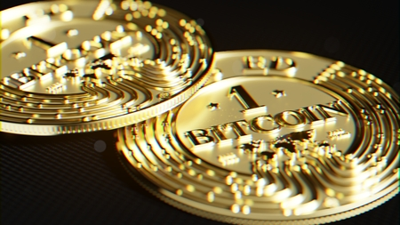 Bitcoin made of gold. Exclusive design. Lens distortion and chromatic effect. 3D rendering. Stock Photo