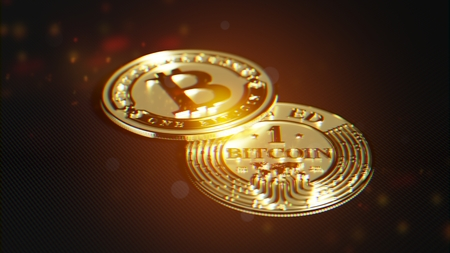 Bitcoin made of gold. Exclusive design. Lens distortion and chromatic effect. 3D rendering. Imagens