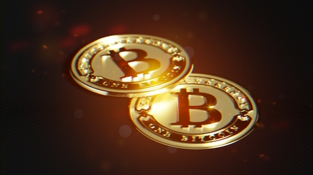 Bitcoin made of gold. Exclusive design. Lens distortion and chromatic effect rendering.