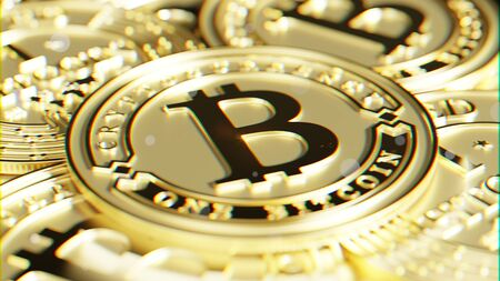 Gold one Bitcoin. Exclusive design. 3D rendering.