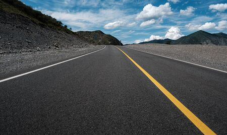 Highway in the Altai Mountains, in the Altai Territory of Russia