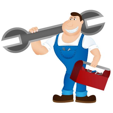 ingeniero caricatura: Mecánico de dibujos animados sosteniendo una enorme llave