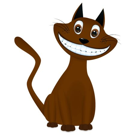 mjau: cute brown cartoon cat sitting and smiling Illustration