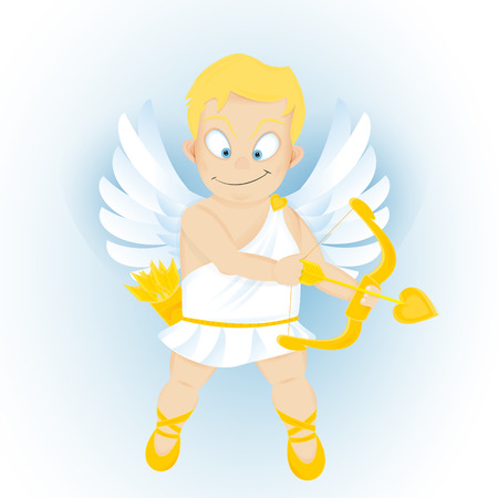 resilient: funny cartoon Cupidon with golden bow and arrow Illustration