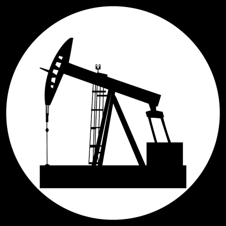 barrell: black vector isolated oil well pump icon