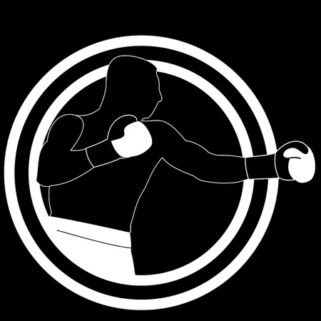 jab: black and white illustration boxer punch jab