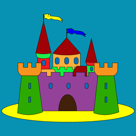 illustration of isolated funny kids cartoon castle