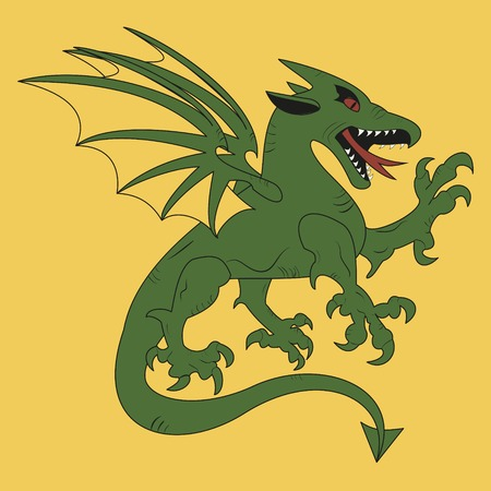 to make believe: simple medieval coat of arms green dragon